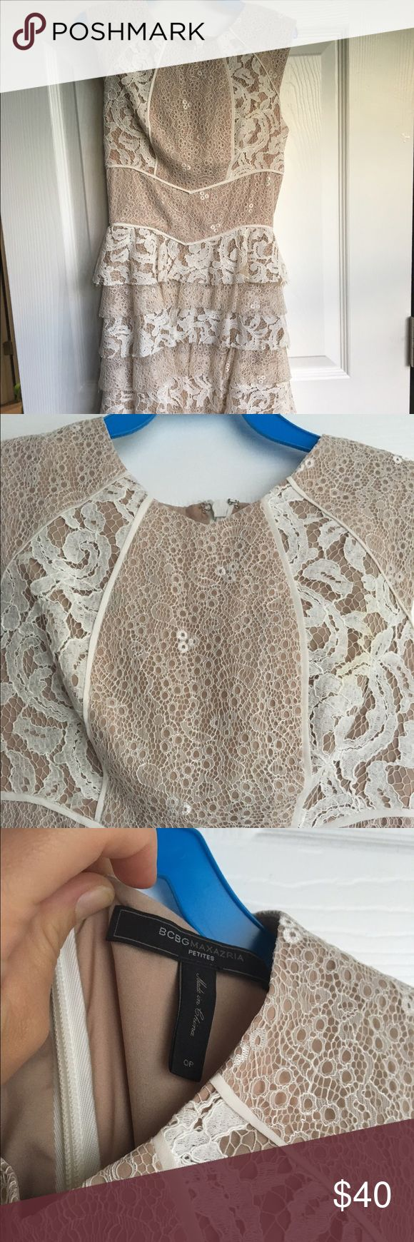 Bcbgmaxazria white and nude laci dress petite So gorgeous. Wore this to my rehearsal dinner. BCBGMaxAzria Dresses Mini