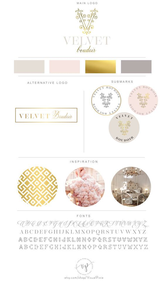 Luxury Branding Package - Boudoir Photography Baroque Logo - Event Wedding Planner Fashion Boutique Business Logo - Interlocking Letters This