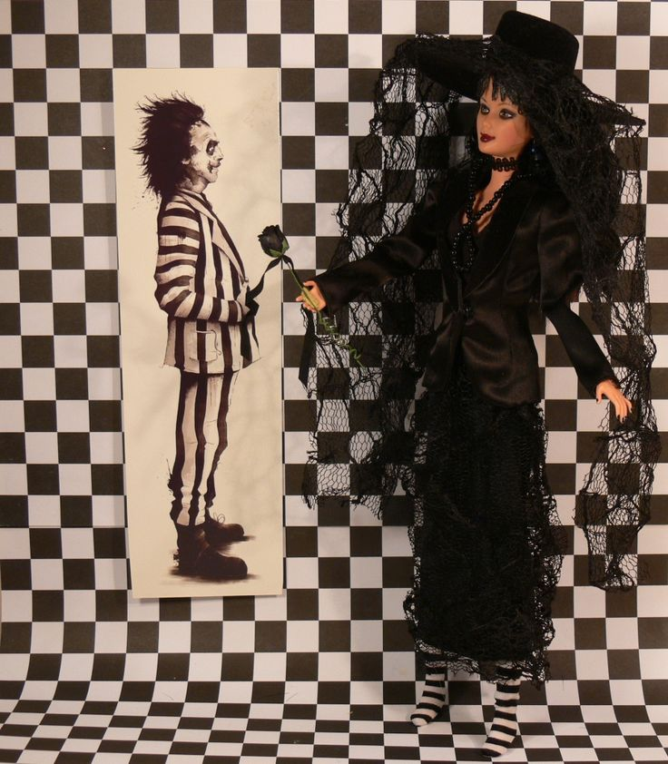 Lydia Deetz with Beetlejuice. My new Custom Doll. See her & other Character Dolls from Moon Singer Lane.
