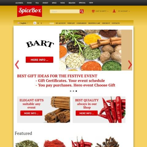 CS-Cart 3 Responsive Template cs300059 is specially designed for online stores selling Seasonings and Spices for Food. This Seasonings and Spices for Cooking of famous brands: Bart, Fromtier (natura products coop), Schwartz nursery, Gallina Blanca, la pesota, Heinz, Kamis, Robertsons the spice people,