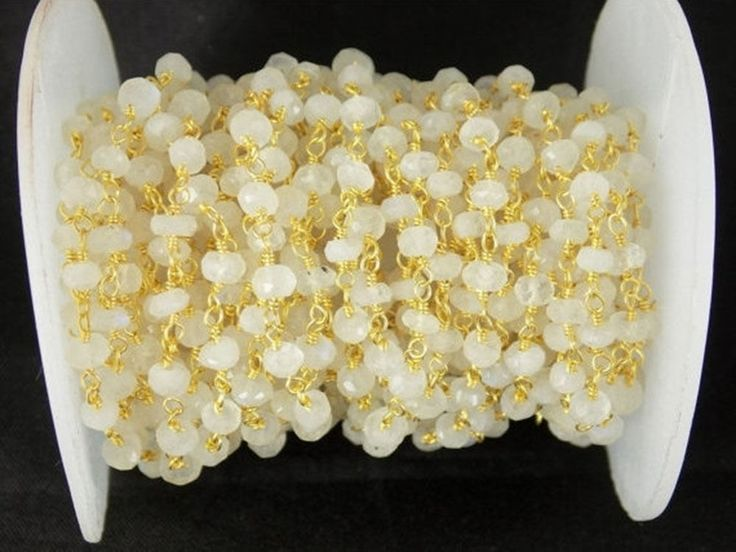 5 Feet White Rainbow Moonstone 24k Gold Plated Faceted 3.5-4mm Rosary Beads #Raagarw #Faceted