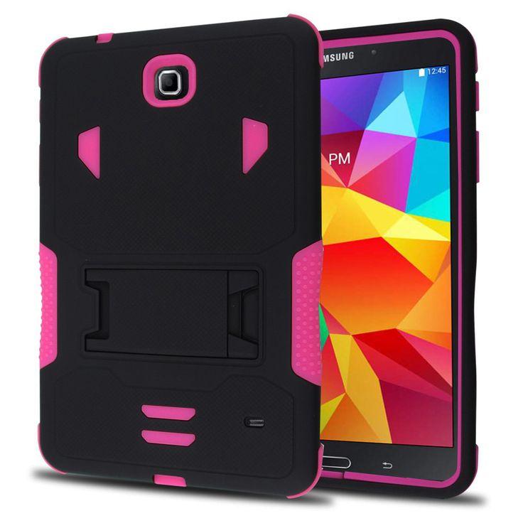 SAMSUNG GALAXY TAB 4 8.0″ CASE, HEAVY DUTY RUGGED HYBRID TRI LAYER ARMOR COVER WITH KICKSTAND (PINK)   #tabletgadgets #tabletaccessories   www.kuteckusa.com.