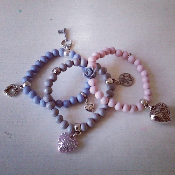Setje: licht blauw/grijs/roze