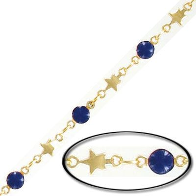 Chain, 4mm star, 4mm purple disk, gold plate