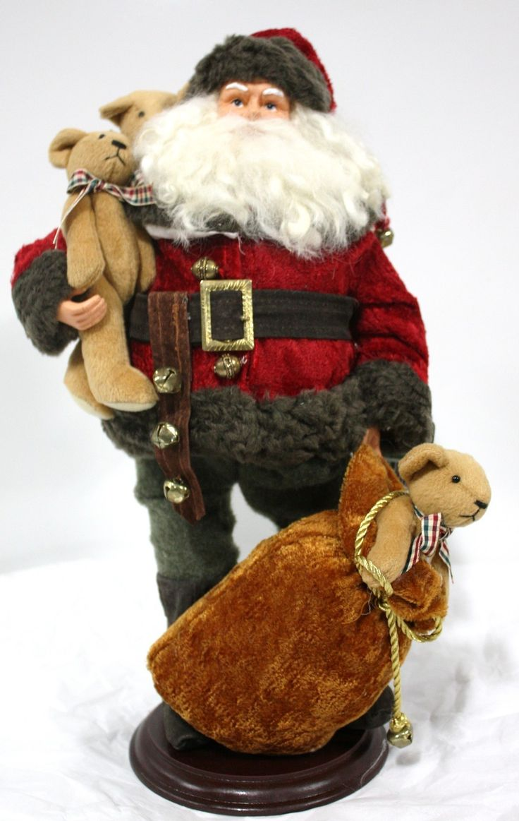 "17"" Santa on Wood Base picclick.com"