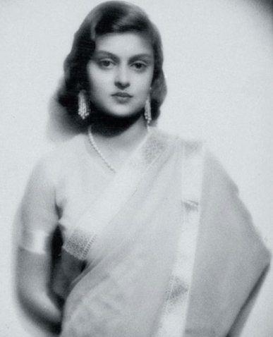 A very young Princess Gayatri Devi in a single strand