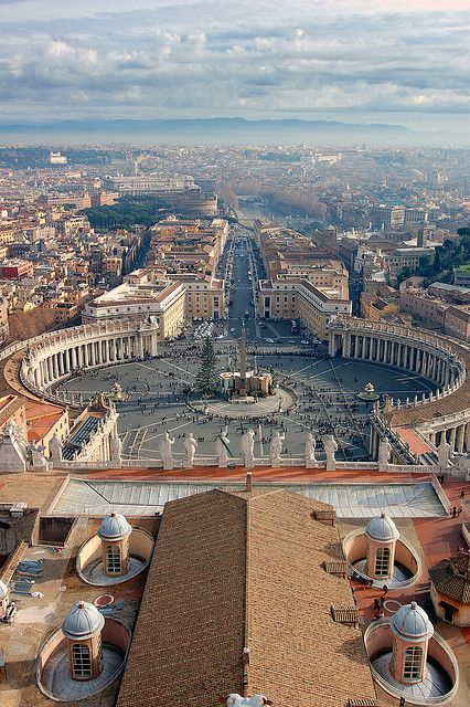 view from the top of St Peters Basilica - Vatican City.