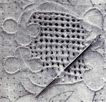 Rhodes Embroidery (a somewhat rustic-looking whitework that relies on a pulled thread stitch to form a grid of open holes around the main design element) ~ from 'The Cult of the Needle' by Flora Klickmann. ~ link to article with further info by Mary Corbert