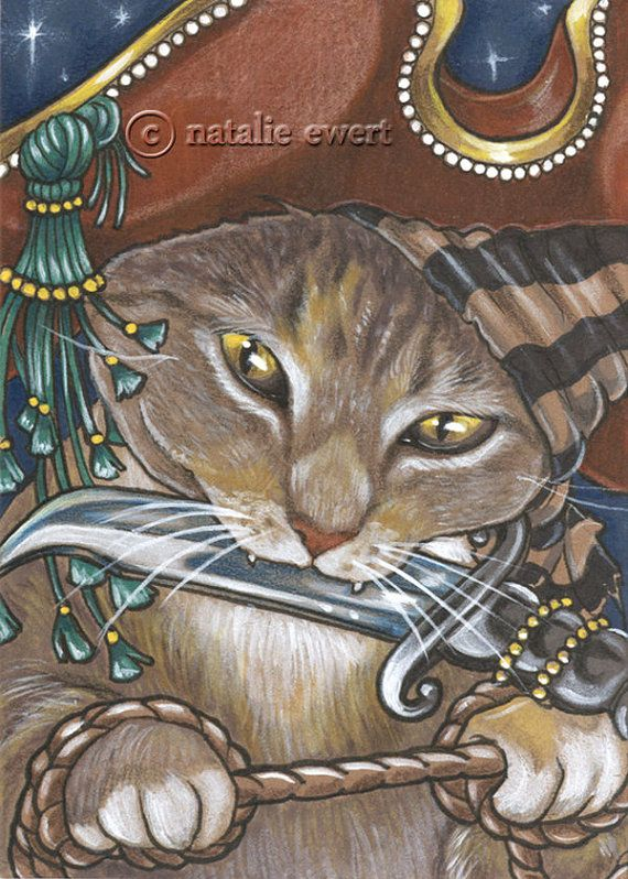 Pirate Cat 8 Signed Art Print You Choose  2.5x3.5 5x7 by natamon