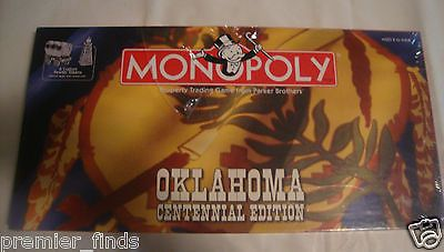 Oklahoma Centennial Edition Monopoly Retired and Out Of Print Sooners State Game