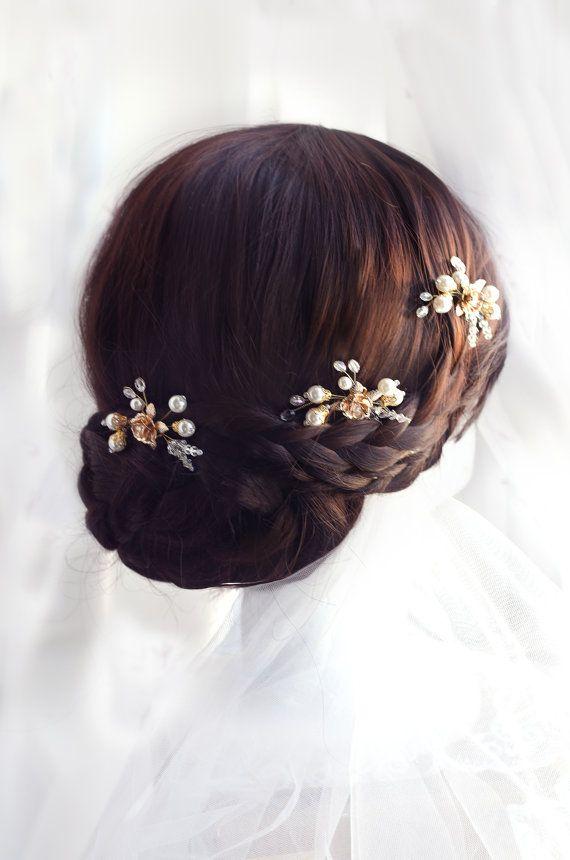 Parel en kristal haar pins gouden haren pin, bruids haar pin, goud en strass haar pin, bruiloft haarspeld, bruiloft haarspeld, gouden haren pin