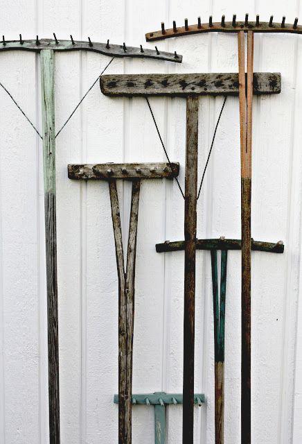 Wooden rakes.