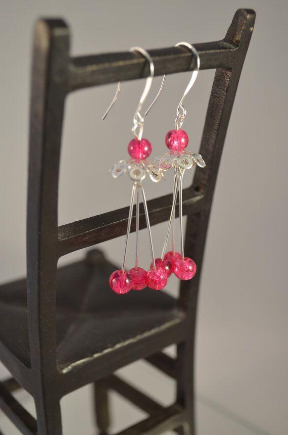 Glass bead dangle earrings earings for women / Lasihelmi roikkuvat korvakorut