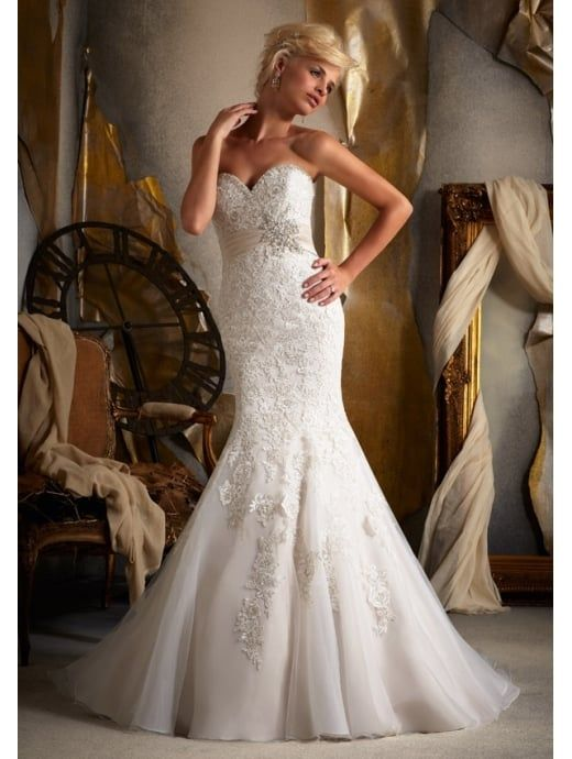MORI LEE Classic Mermaid Bridal Gown With Satin Waist Band Ivory