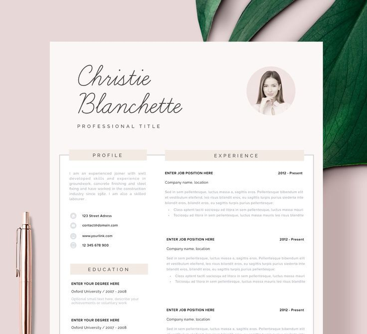 Resume Template Resume Cv Template Cv Design Curriculum Vitae Cv Instant Download Resume Res Resume Template Resume Template Professional Cv Template