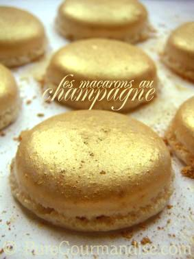 Macarons dusted with edible gold dust. You can get the gold dust here > http://rstyle.me/n/venhst3d6