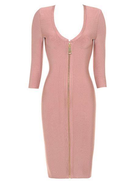Klara Front Zip Long Sleeve Bandage Dress (Estimate delivery time 3/12)