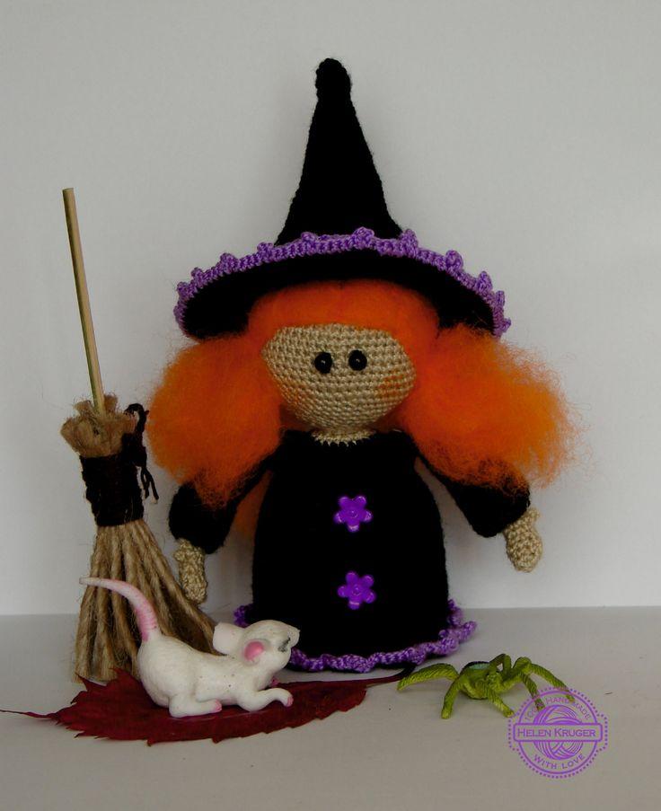 Witch Doll Halloween witch Crochet doll Amigurumi Halloween Decor Cute witch Black Purple Redhead witch Doll Ginger witch Halloween gift by KrugerShop on Etsy