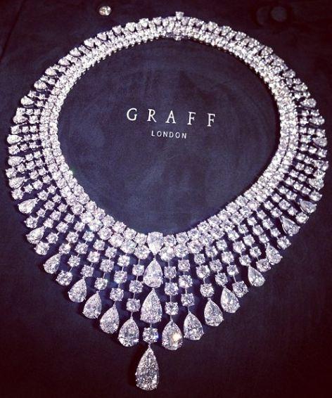 Graff Round & Pearshape Diamond necklace - 378 diamonds, 147.71 carats. (Board: The Vault.)