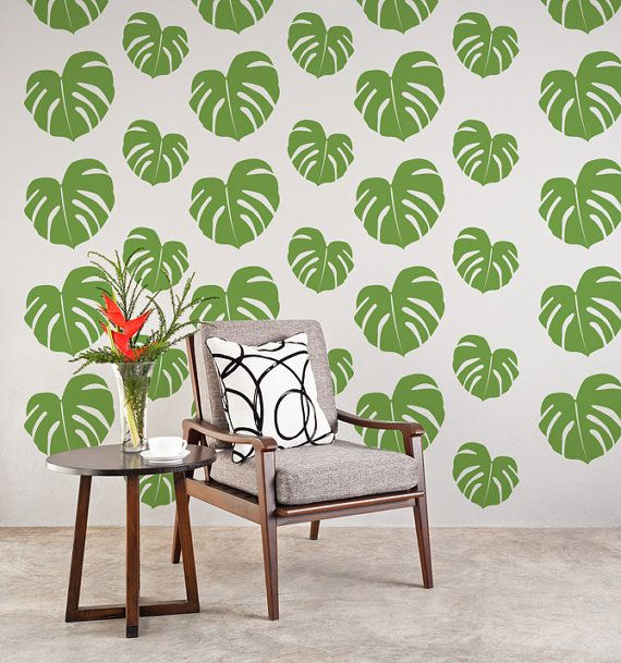 Wall Decals Tropical Nature Hawaiian Banana Leaves Jungle Rain Forest Beach    Going Bananas    THIS SET INCLUDES (3) PANELS THAT EACH MEASURE