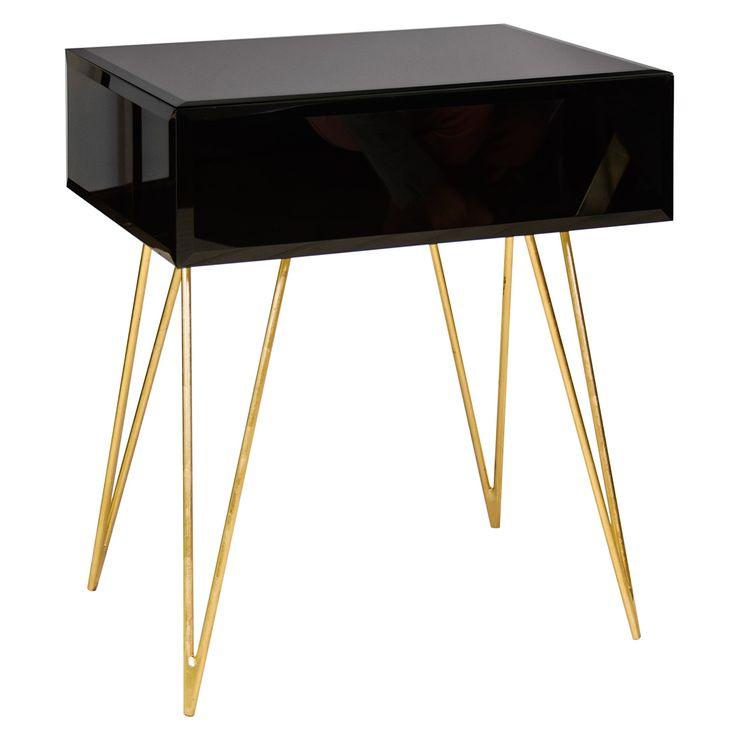 Worlds Away Debra Black Glass Side Table @Zinc_Door