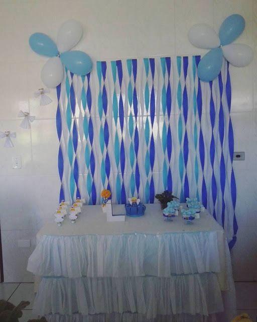 Decoração simples porém linda para Batizado de menino!!! ♥