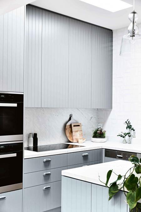 small modern grey kitchen