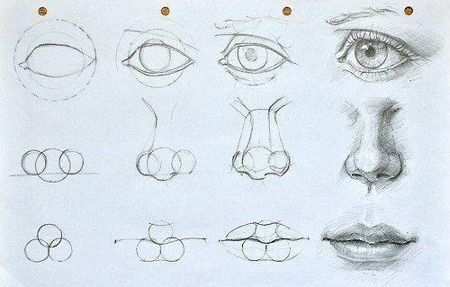 Augen, Mund und Nase zeichnen lernen. Schauen Sie diese Anleitung an. Die ist se
