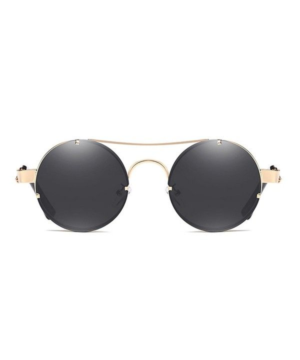 76a71ff9a4ab7 Spring Temple Rimless Oversized Punk Round Sunglasses - Black Lens Gold  Frame - C8189UC6TS8 -