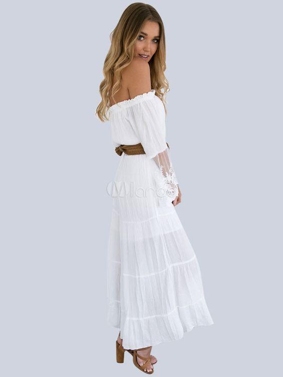 7c13e4bbf6df White Lace Dress Off Shoulder Women Sexy Summer Boho Beach Dress -  Milanoo.com