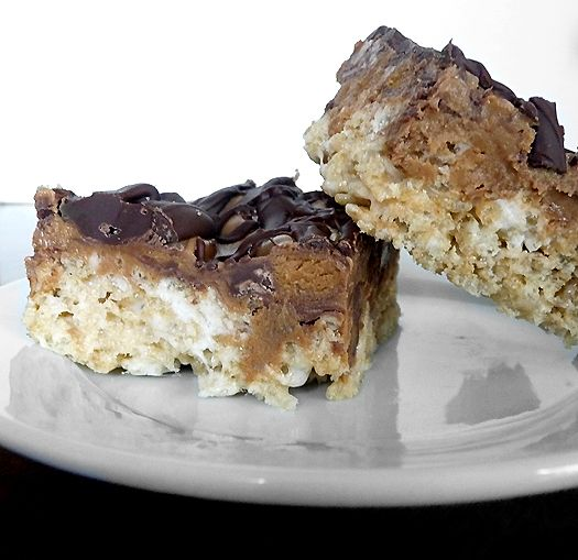 Peanut Butter Cup Rice Crispy Treats.  This should satisfy both of rice crispy cravings!