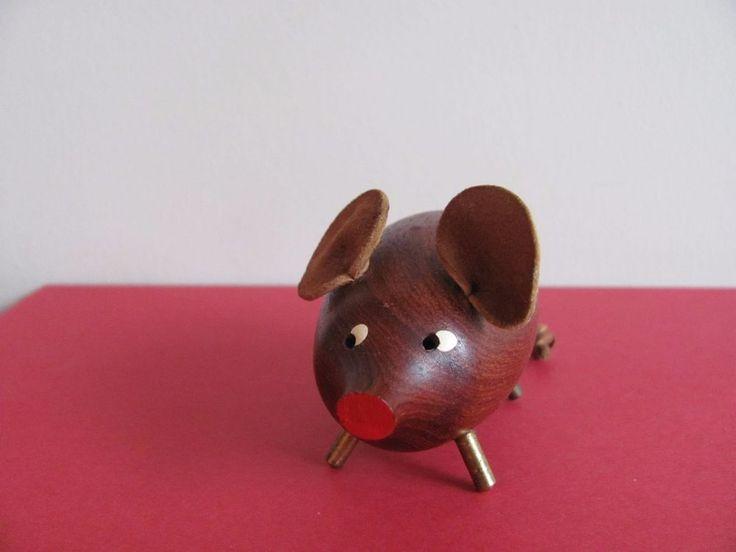 Vtg MCM DANISH TEAK PIG PIGGY BANK Stash / Savings Box Scandinavian | eBay
