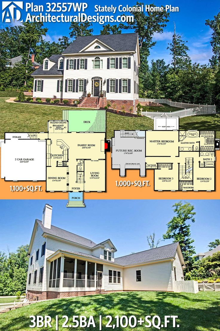 Architectural Designs House Plan 32557WP is a stately Colonial design giving you 3 beds, 2.5 baths and over 2,100 sq. ft. of heated living space. Ready when you are. Where do YOU want to build? #32557wp #adhouseplans #architecturaldesigns #houseplan #architecture #newhome  #newconstruction #newhouse #homedesign #dreamhome #dreamhouse #homeplan  #architecture #architect #colonial #colonialhome #colonialhouse
