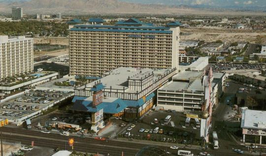 Imperial Palace. Las Vegas, 1982. Before the towers and Asian design, it was Flamingo Capri motel. Today it's The Linq