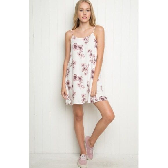 Brandy Melville Pink Floral Abigail Dress • Rare Brandy Melville Floral Dress. Size OS. Never worn before. NWOT. Bought in the Brandy Melville store in Zurich, Switzerland. Gorgeous, simple, chic design.  No trades, please ✨• Brandy Melville Dresses