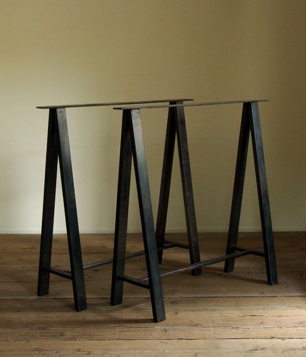 Great Dark Brown Iron Trestle Table #1 By GMR Archives @ Five From The Ground