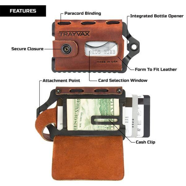 $84.99 Leather Metal Wallet | Canyon Red Element (Black) – Trayvax Enterprises