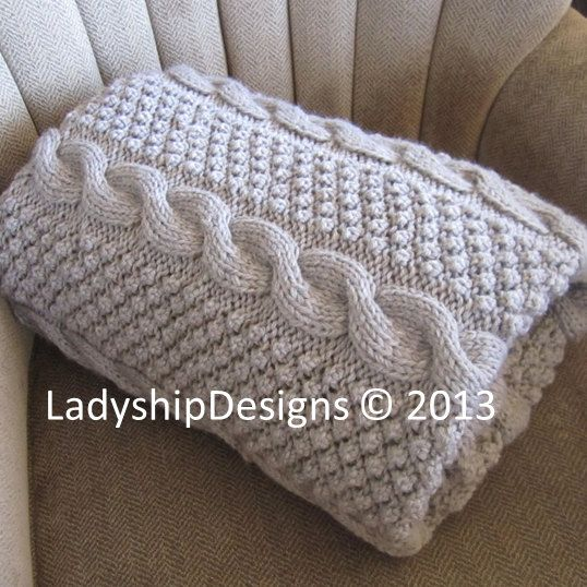 pdf knitting pattern  cable knit blanket pattern