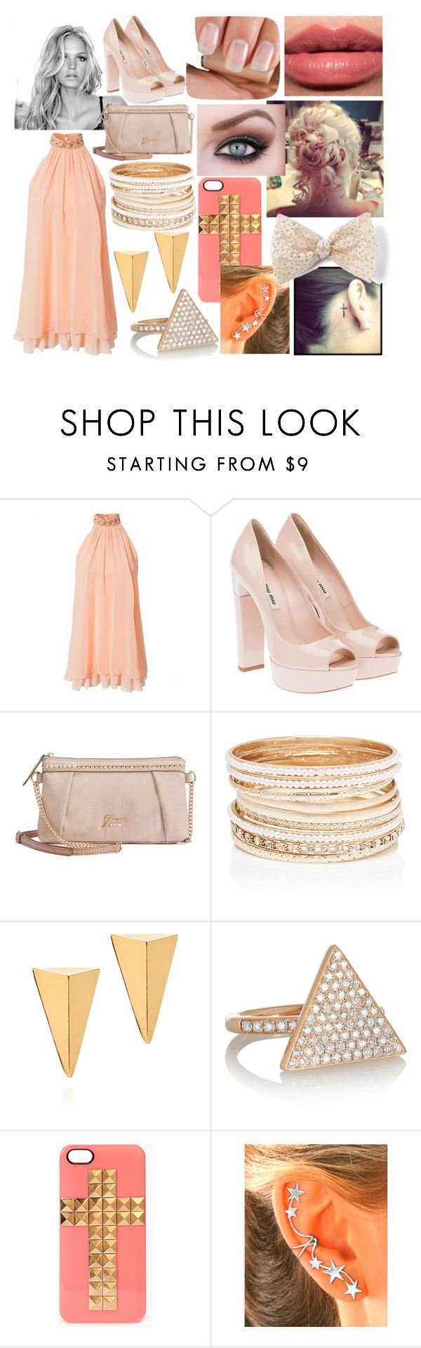 """ellis"" by nothing-better-than-a-riddle ❤ liked on Polyvore featuring Elise Ryan, Miu Miu, GUESS, Forever New, John & Pearl, Anita Ko, Bobbi Brown Cosmetics and Forever 21"