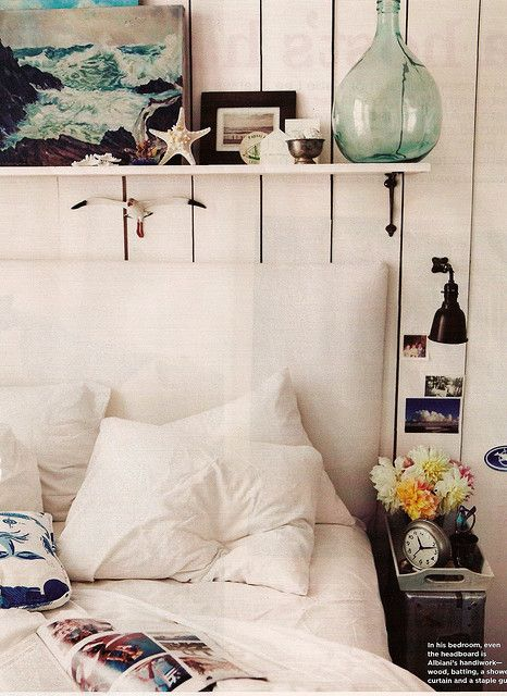 Bedroom via Domino (love this, although I live in California and we can't sleep with anything over our heads like that!)