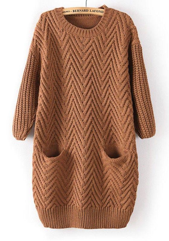 Brown Plain Pockets Round Neck Straight Cotton Sweater
