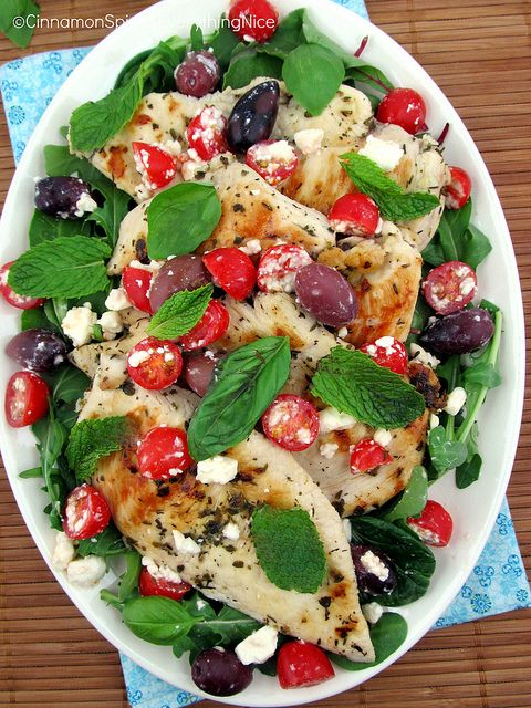 Greek Chicken with Kalamata Olives and Feta.....Greek-inspired grilled chicken cutlets with Kalamata olives, feta cheese, grape tomatoes, mint and basil with an optional marinade. A fast, easy, impressive chicken dish you can have on the table in 25 minutes or less.