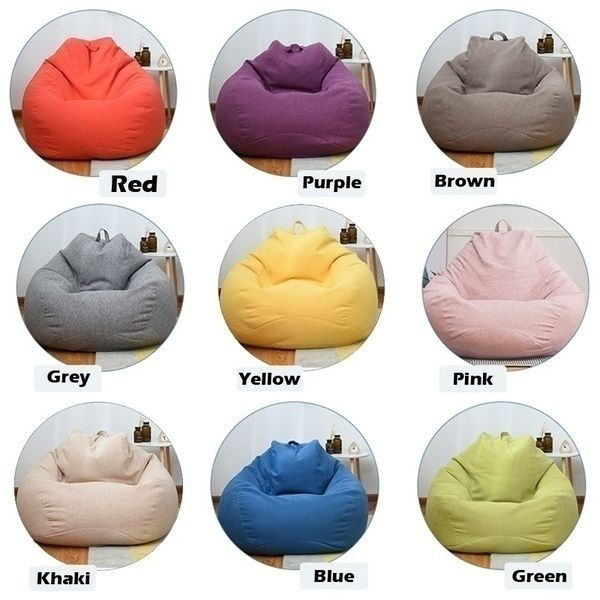 New S M L 9 Colors Stylish Bean Bag Sofa Cover Lounger Chair Sofa Seat Living Room Furniture Without Filler Beanbag Sofa Bed Pouf Puff Couch Cotton Chair Cover In 2020 Bean