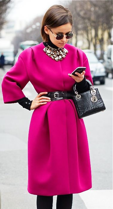Pink coat, black belt and handbag Lady Dior, statement necklace and black sunglasses. Business outfit.