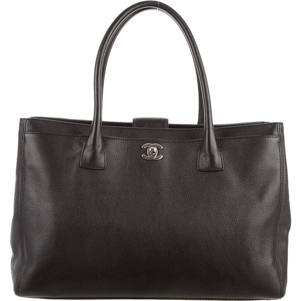 Pre-owned Chanel Cerf Tote w/ Strap (€1.755) ❤ liked on Polyvore featuring bags, handbags, tote bags, black, chanel handbags, genuine leather tote, leather purse, leather tote and woven tote