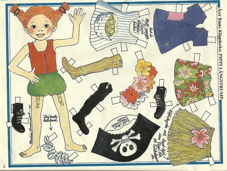 Pippi Longstocking Langstrump Vintage Paper Doll Clothes | eBay