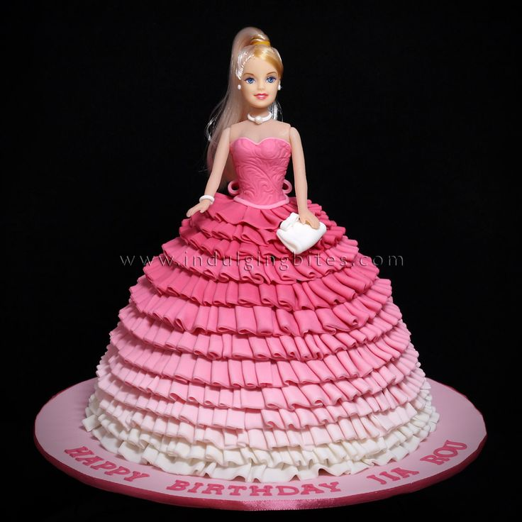 Princess in Gradient Pink Gown Birthday Celebration Cake
