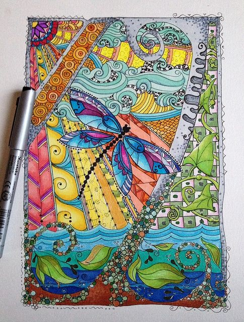 Zentangle Doodle Dragonfly | Flickr - Photo Sharing!