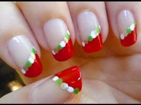 Easy and Beautiful Holiday Nails - Nail art Tutorial