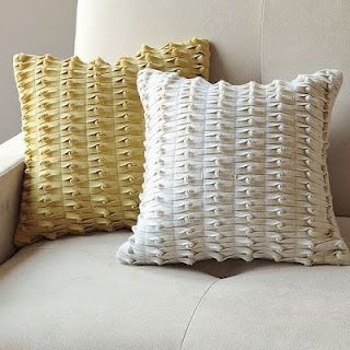 Pillow from West Elm (used an inspiration for the lattice pillow).  Could make this yourself, but would have to start the strips differently.
